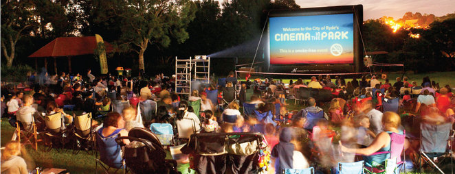 cinema in the park, outdoor cinema ryde, outdoor movies kids, outdoor movies, eastwood plaza