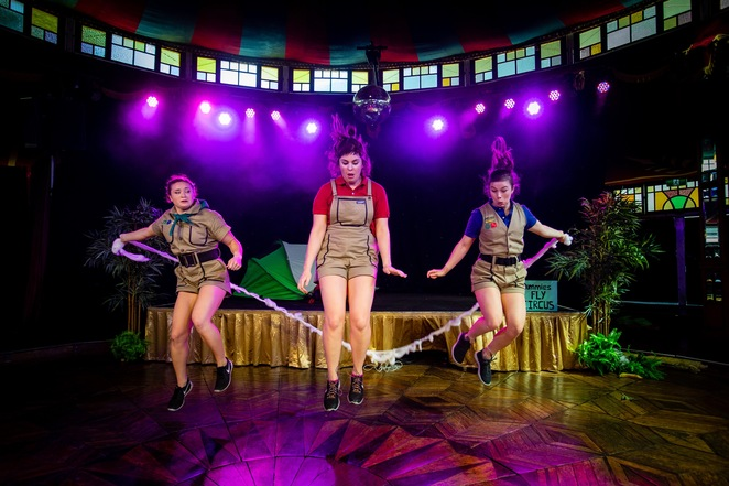 don't mess with the dummies review, dummies corp, melbourne international comedy festival 2019, the spiegeltent, arts centre, community event, comedy show, fun things to do, live entertainment, circus, female acrobats, new ensemble, ellen henry, maya tregonning, shona conacher, slapstick prowess, hilariious