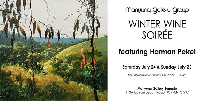 manyung's winter wine weekend art soiree, community event, fun things to do, featuring herman pekel, manyung gallery group sorrento, community event, fun things to do, free art event, winter wine weekend, melbourne artists, live music, james vincent, art gallery