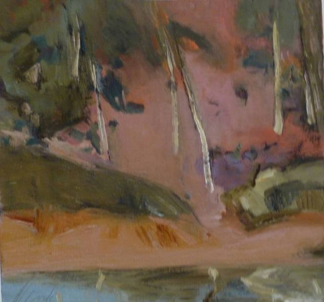 pink landscape, trees, art, paintings
