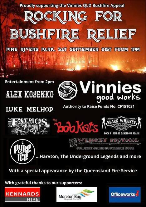 rocking for bushfire relief 2019, community event, fun things to do, fundraiser, charity, black whiskey, fat pigs est 1984, harvton, pyre & ice, the whiskey protocol, luke melhop music, alex kosenko, donate to bushfire relief, st vincent de paul society bushfire appeal 2019, kids entertainment, jumping castle, face painting, food trucks, sausage sizzle, vinnies qld disaster appeal