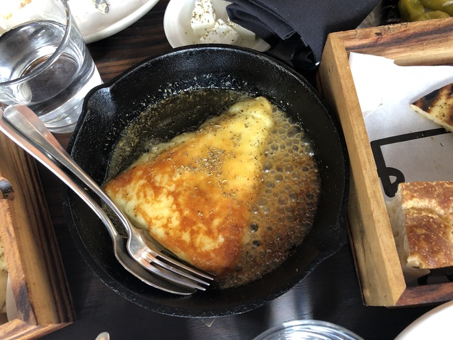 Saganaki, cheese, honey, oregano @ Greca Restaurant (photo by Praneel Lal)