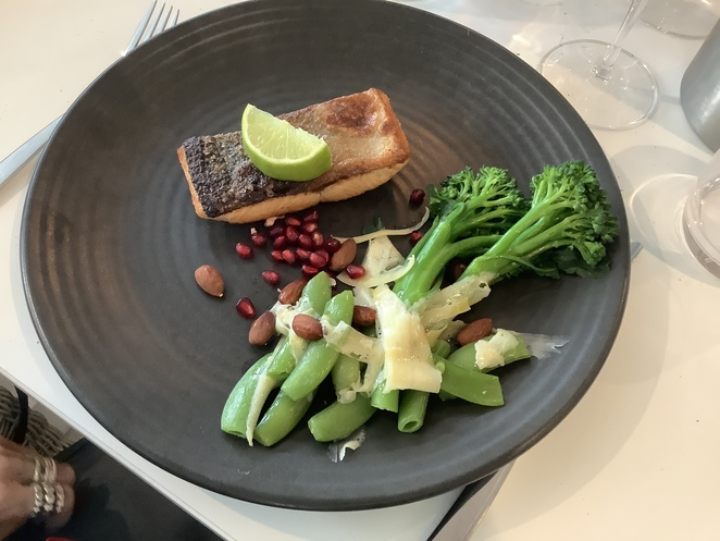 Salmon served with green vegetables a nutritious and delicious meal