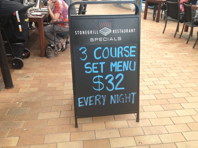 Set menu, stonegrill steakhouse, huskisson