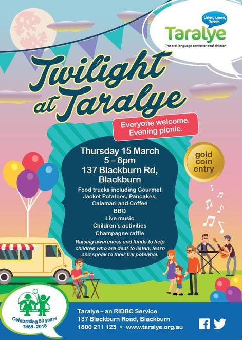 twilight at taralye, community event, fun thing sto do, food trucks, gourmet jacket potatoes, pancakes, calamari, bbq, coffee, live music, children's activities, champagne raffle, fundraiser, charity, deafness fundraiser