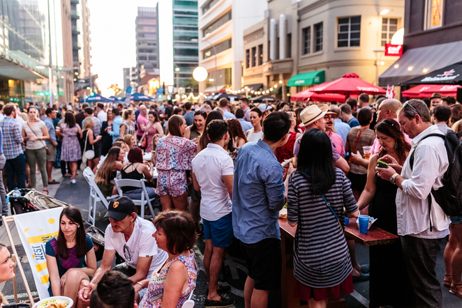 waymouth street party, adelaide fringe, street party, waymouth street, in adelaide, street food, food and wine, fringe festival, adelaide west end association, time to party
