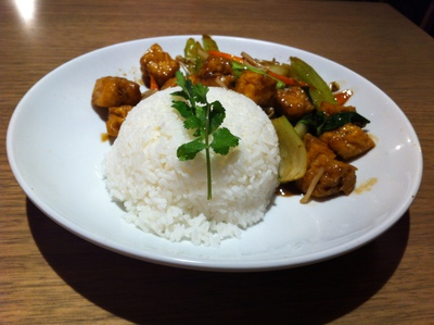 Tofu served with steamed rice, Wok On Inn