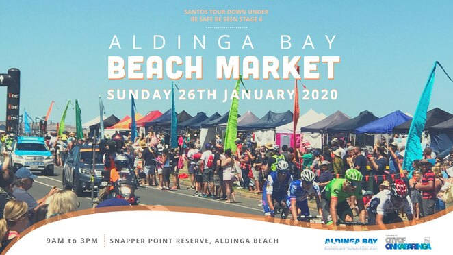 aldinga bay beach market 2020, community event, fun thigns to do, aldinga bay, community event, fun things to do, entertainment, activities, market stalls, dj es'ay, jesse francis, australia's greatest cycling race, santos tour down under, aldinga beach esplanade, be safe be seen, family friendly free event, world class cycling, quality market stalls, food, entertainment, licensed bar, large screen tv, chalk art and face painter, fun for kids, snapper point reserve, aldinga bay business and tourism association, the city of onkaparinga