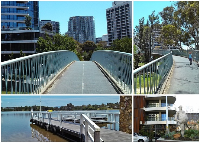 bridge, new acton precinct, lake burley griffin, acton wharf, canberra lake cruises, mocan and green grout, cafes, walks, self guided walks,