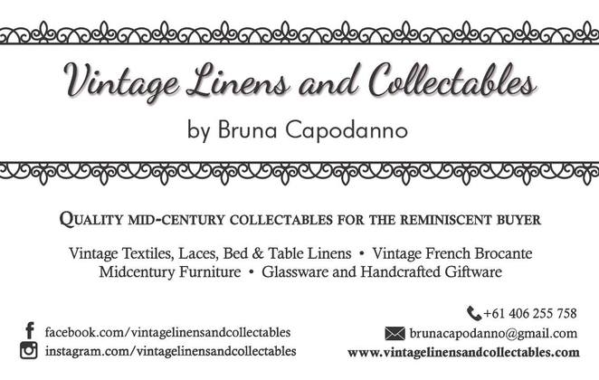 bruna capodanno, vintage linens and collectables, vintage textiles, laces, bed and table linens, midcentury furniture, glassware, vintage french brocante, handcrafted giftware, store opening, store launch