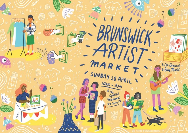 brunswick artist market 2019, the spotted mallard, community event, fun things to do, homegrown melbourne art, melbouren art scene, affordable art, free event, community event, fun things to do, entertainment, local musos, coffee and toasties, co-ground coffee, stained glass windows, gold coin donation, laura eloise, bec sykes music, tim gordon, live music, enterttainment