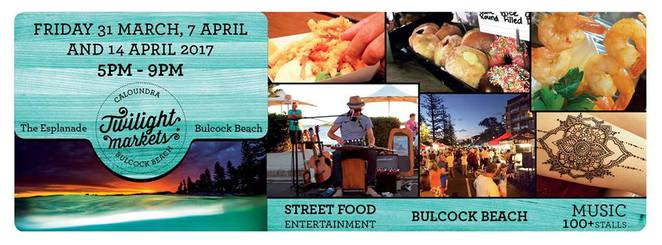 Caloundra Twilight Markets, Easter holidays, Friday 31 March, Friday 7 April, Friday 14 April, fun, festivities, The Esplanade, Bulcock Beach, unique stalls, street food, gourmet sweets, fashion, jewellery, fun for children, live music, street performers
