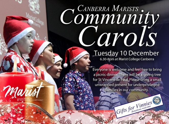 Canberra Marists, christmas carols, 2019, christmas events, canberram whats on, schools, local, community, woden,