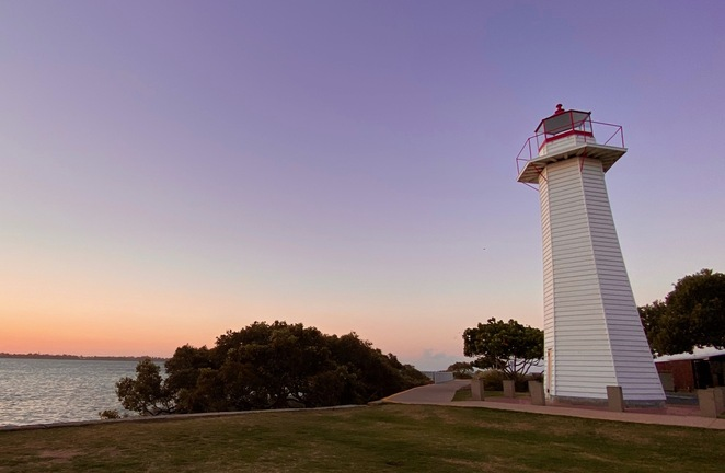The historic lighthouse at Cleveland Point