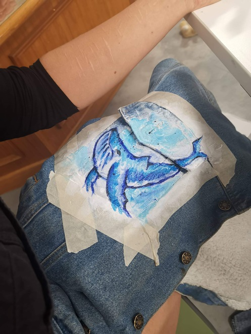 denim art, denim, recycled clothing, fashion, paint and sip