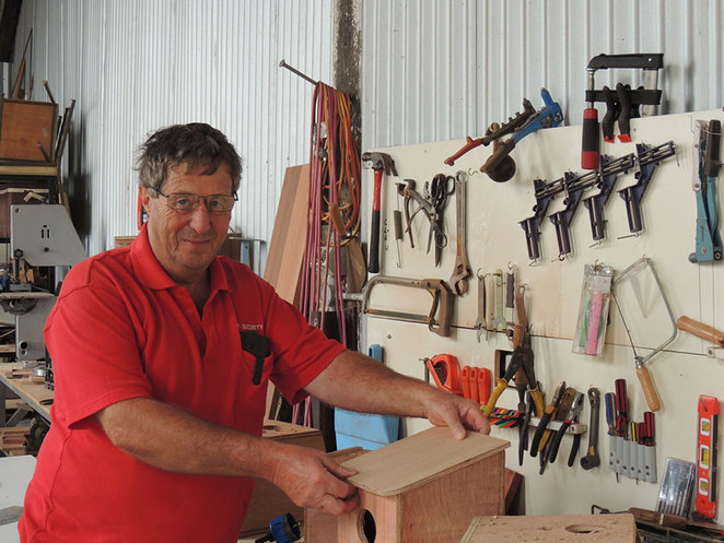 Founding member of the Capel Men's Shed, Gordon Knight demonstrating his woodworking skills at the South West Rail and Heritage Centre