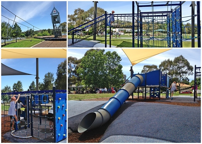 gordon playground, tuggeranong, families, kids, children, tower, gordon, leaning tower, slides, parks, party venues, BBQ areas, gordon pond, bike riding,