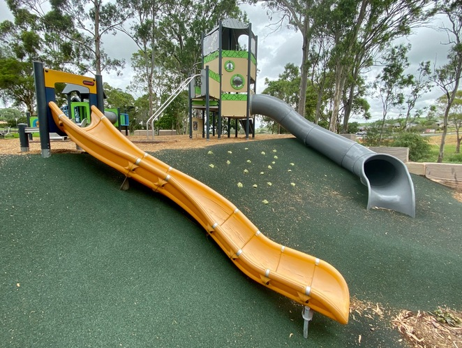 Slides and climbing wall at Hodgson Vale Lions Park