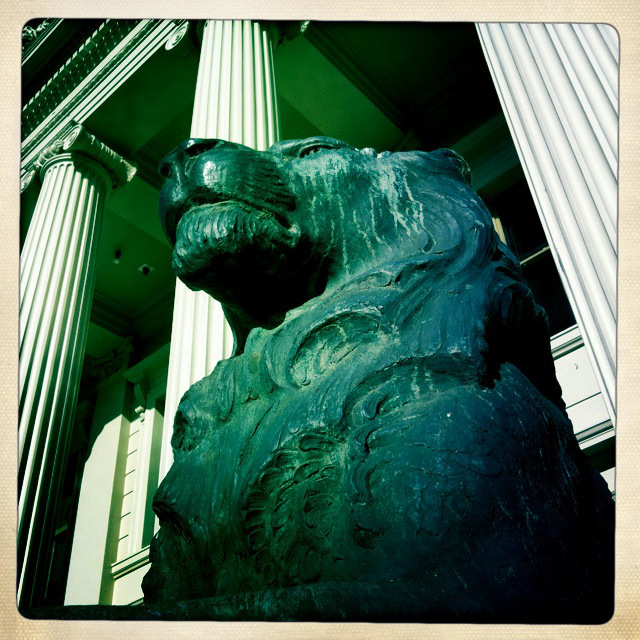 One of the Lions outside Geelong Town Hall