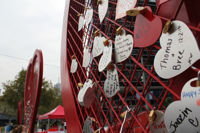 Love Locks, Lock in the Love, Heart Foundation, Hearts, Health, Wellbeing, Fitness, Fundraiser, Romance, Valentine's Day, Queensbriedge Square