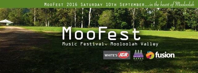MooFest 2016, fun for the family, day out, Mooloolah, gold coin donation to Fusion, bands, music, kids' Zone, Market stalls, jumping castle, buskers