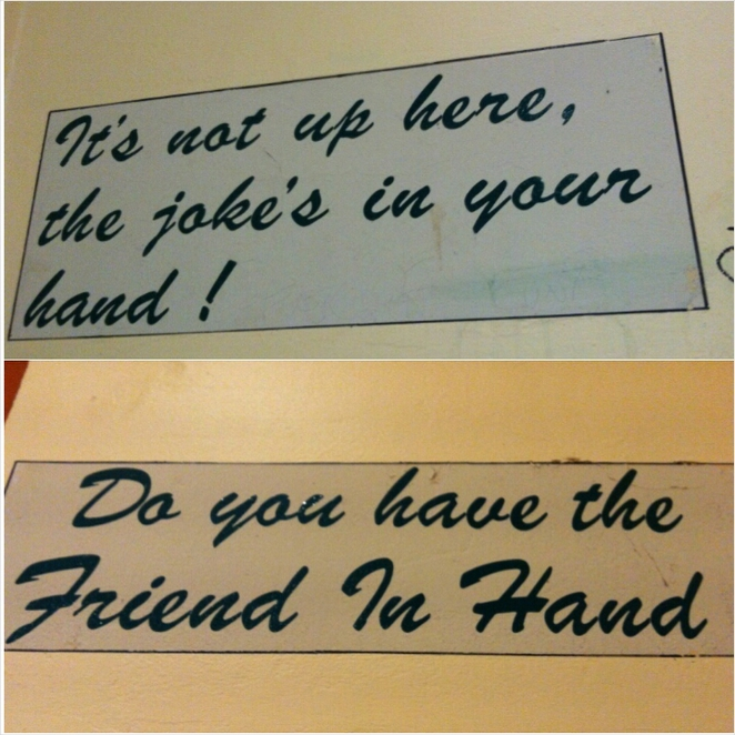 pub signs, toilet, the friend in hand
