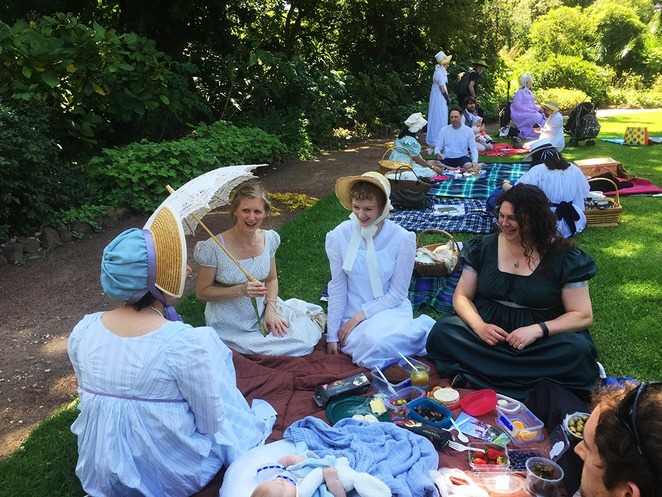 regency, picnic, jane austen, costume, bridgerton