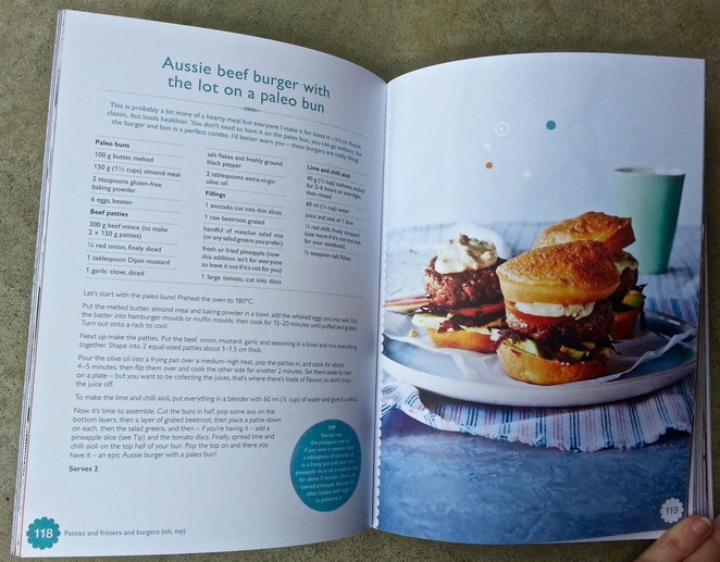 The Happy Cookbook, Lola Berry, Nutritionist, Gluten-free, sugar-free recipe book, Aussie beef burger, paleo bun
