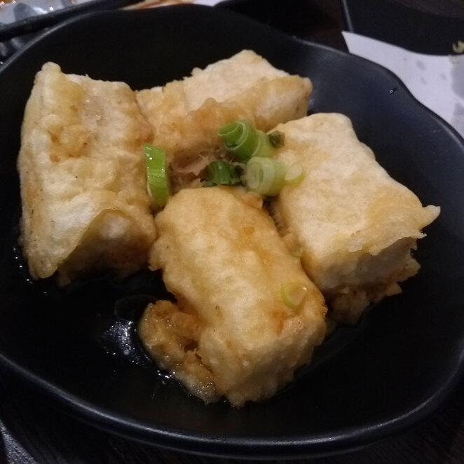 Deep fried tofu in tempura batter