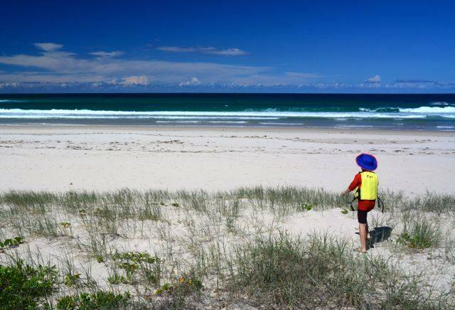 The surf beach at the northern tip of Bribie Island