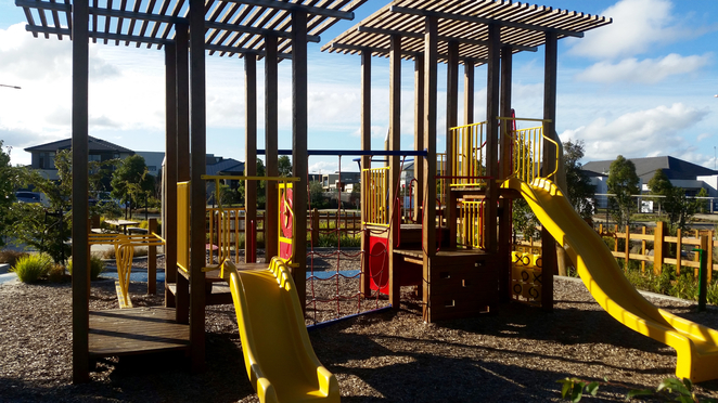 Armstrong Creek Park, Armstrong Creek Playground, play equipment, slides,