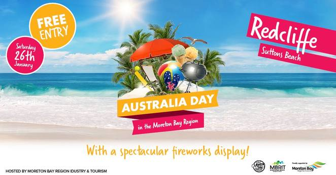 Australia Day in Redcliffe 2019, FREE event, family event, live music, performers and bands, James Tyler, Lamington eating competition, Asa Broomhall, The Lighthearts, The Shine, fireworks finale, FREE beach activities, beach cricket, beach volleyball, Sutton Beach, FREE hydration station, bring your reusable water bottles, food trucks, Moreton Bay Region Industry & Tourism, Moreton Bay Regional Council