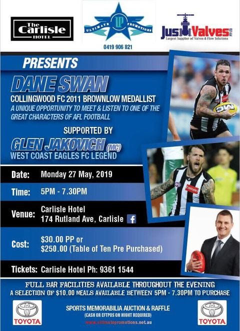 Carlisle Hotel, Dane Swan, Glen Jakovich, West Coast Eagles, Collingwood, AFL legends, footy show, Australian Rules Football, Football panel, food and drink, pub food