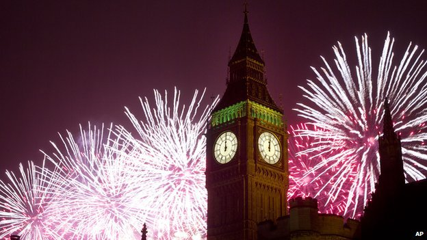 fireworks, big ben, new year