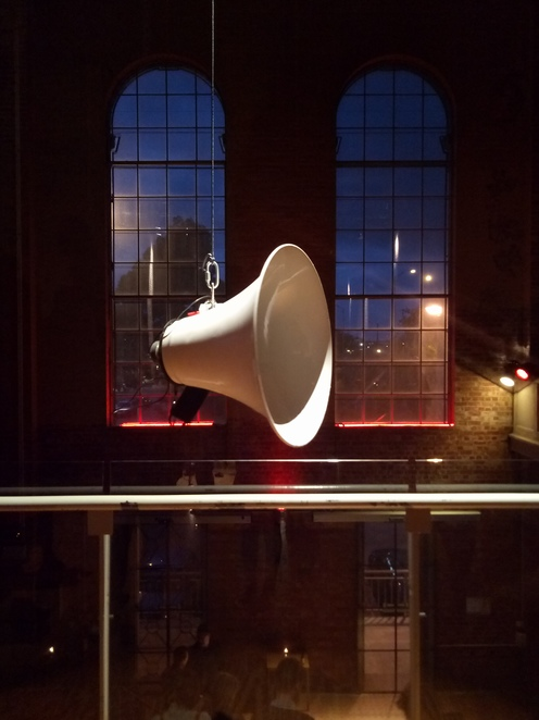 Megaphones, sonic installation, performance art, installation, sound, art, japanese performance artist, the substation