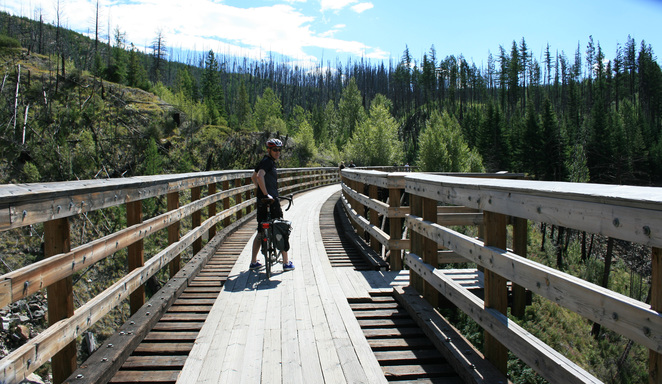 Myra Canyon,Kettle Valley Railway,Kelowna,British Columbia,cycling Okanagan,Okanagan,Okanagan Valley,cycling British Columbia
