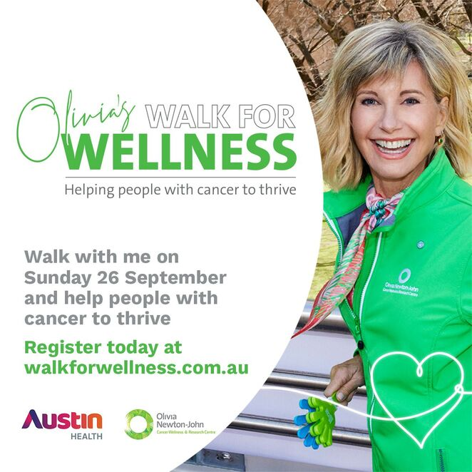 olivia's walk for wellness to support people with cancer, walk for cancer virtual event, olivia newton john's walk for cancer fundraiser, fun things to do, community event, charity, olivia newton john cancer wellness and research centre, local hero, help support cancer research