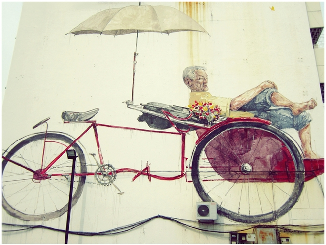 Penang Road, Penang Street Art, Mural, Ernest Zacharevic, The Awaiting Trishaw Paddler,