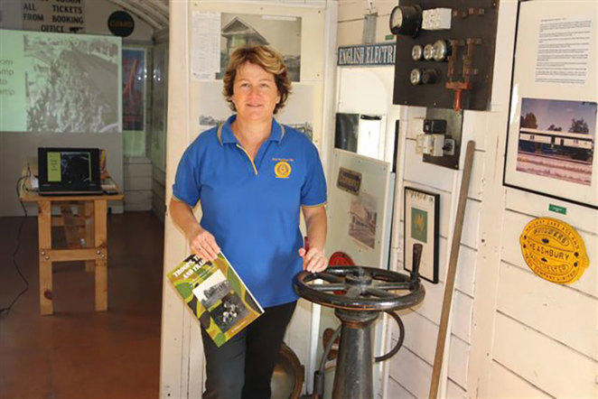 Philippa ready to show you around this unique museum at the South West Rail and Heritage Centre