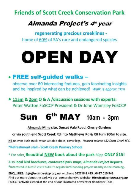 Scott Creek Conservation Park Open Day, Scott Creek Conservation Park, Scott Creek, Conservation Park, Open Day, guided walks, walks, free, warrawong