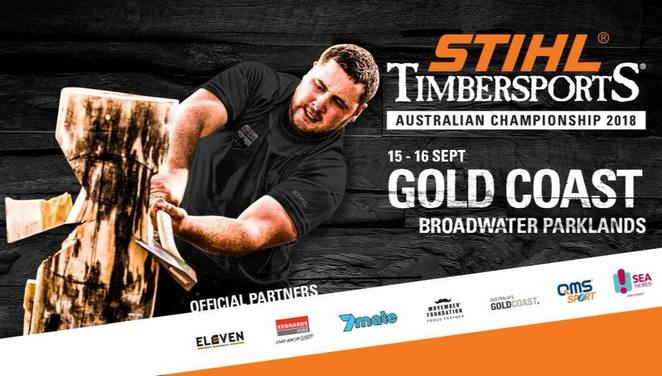 STIHL Timbersports, broadwater parklands, southport, community event, fun things to do, outdoor extreme sports, city of gold coast, cogc, competitions, logging skills, free entry, athletes, razor sharp axes, high powered chainsaws, STIHL timbersports australian championship 2018, food truck carnival, entertainment