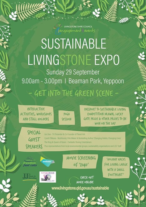 sustainable livingstone expo, Yeppoon, passport, get into the green scene, stalls, activities, speakers, expo, climate change, global warming, 2040 the movie