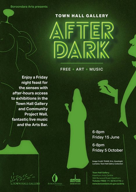 townhall gallery after dark, boroondara arts 2018, hawthorn arts centre, community event, free event, fun things to do, entertainment, music, arts bar, live music, exquisite exhibitions, community project wall, hand crafted gifts, shopping, artists and curators Q&A
