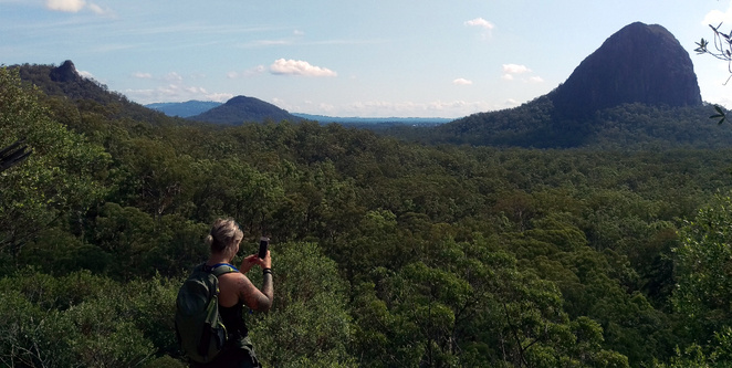 Enjoying the views of the Glass House Mountains on the Yul-yan-man Track