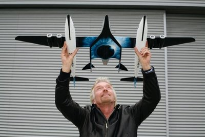 Sir Richard Branson, with the Virgin Galactic concept.