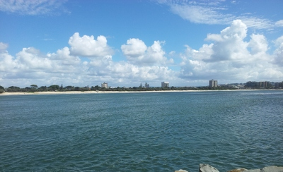 From the tip of the Spit, looking back towards Mooloolaba Beach