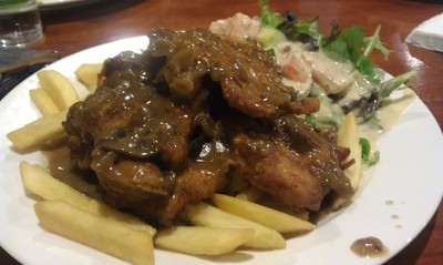 pork chops with chips and salad