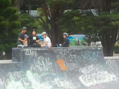 Isaac and his friends at Cheltenham Skate Park