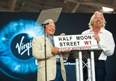 Buzz Aldrin and Richard Branson at Spaceport America.