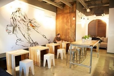 Funky interior design and drawing on the wall